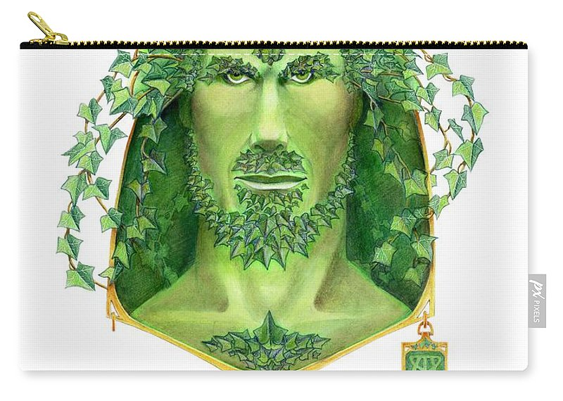 Green Man Carry-all Pouch featuring the painting Ivy Green Man by Melissa A Benson
