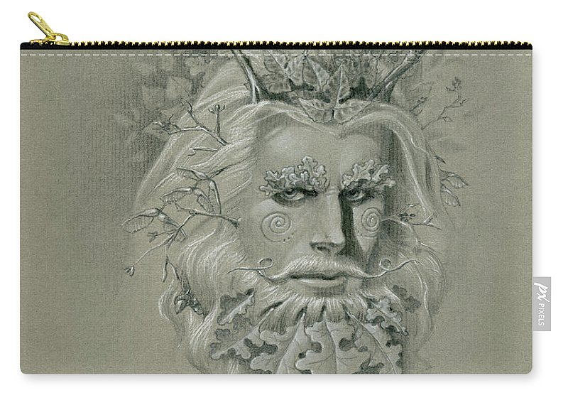 Pagan Carry-all Pouch featuring the drawing Green Man on Halftone Paper by Melissa A Benson