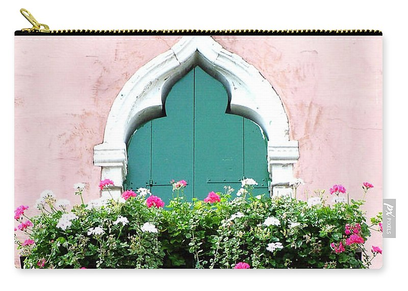 Green Carry-all Pouch featuring the photograph Green Ornate Door With Geraniums by Donna Corless