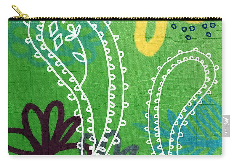 Paisley Carry-all Pouch featuring the painting Green Paisley Garden by Linda Woods
