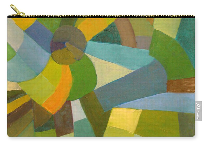 Green Carry-all Pouch featuring the painting Green Pallette by Art Nomad Sandra Hansen