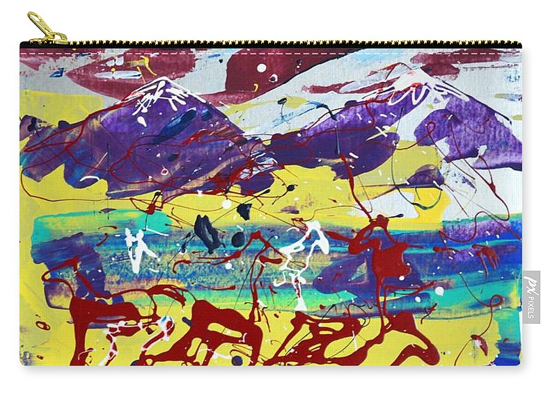 Horses Grazing Carry-all Pouch featuring the painting Green Pastures And Purple Mountains by J R Seymour