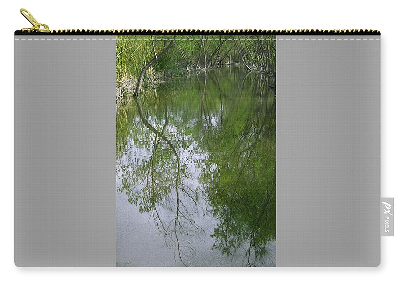 Reflection Carry-all Pouch featuring the photograph Green Peace - Trees Reflection by Ben and Raisa Gertsberg