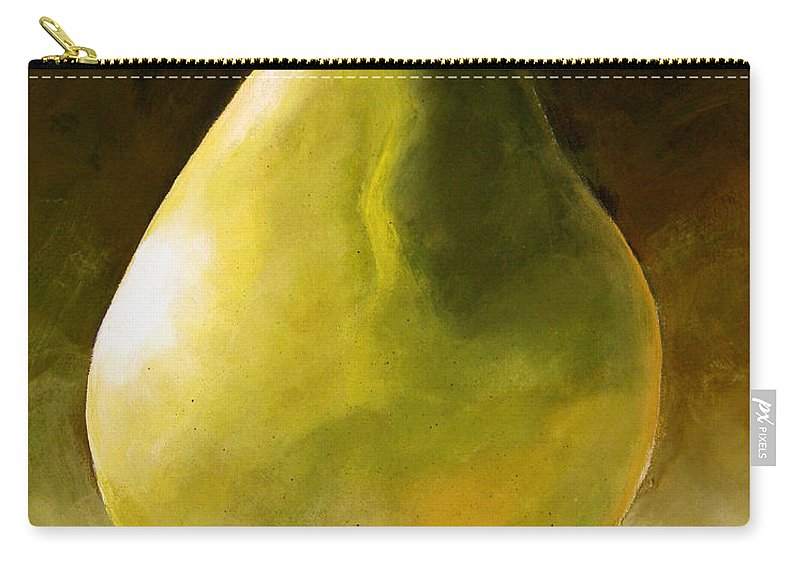 Green Carry-all Pouch featuring the painting Green Pear by Toni Grote