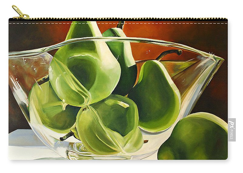 Pear Carry-all Pouch featuring the painting Green Pears In Glass Bowl by Toni Grote