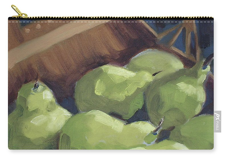 Pears Carry-all Pouch featuring the painting Green Pears by Lewis Bowman