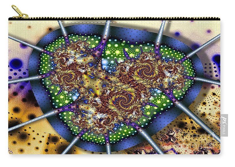 Polka Dots Carry-all Pouch featuring the digital art Green Polka Dot by Ron Bissett