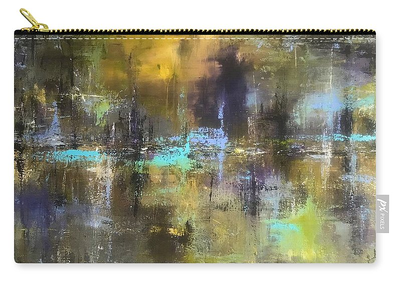 Abstract Acrylic Painting John Cammarano Green Blue Purple Carry-all Pouch featuring the painting Green Pond by John Cammarano
