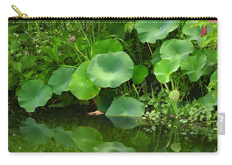 Ann Keisling Carry-all Pouch featuring the photograph Green Reflection by Ann Keisling