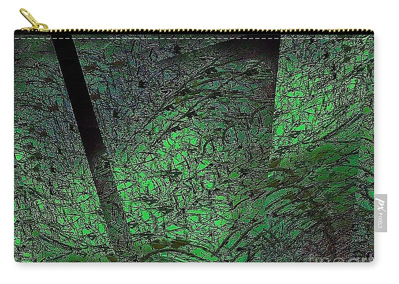Abstract Carry-all Pouch featuring the digital art Green Reflection by Cooky Goldblatt