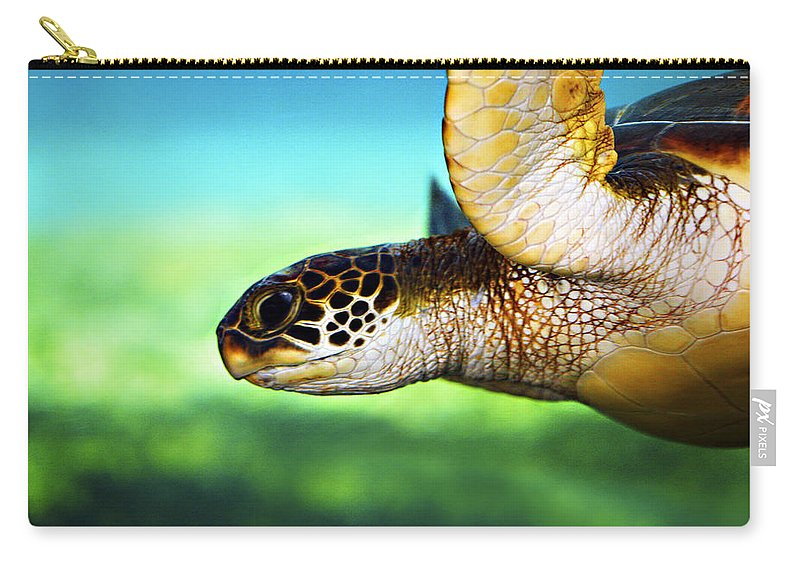 Green Carry-all Pouch featuring the photograph Green Sea Turtle by Marilyn Hunt