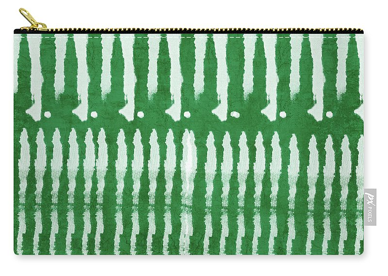 Shibori Carry-all Pouch featuring the mixed media Green Shibori 1- Art by Linda Woods by Linda Woods
