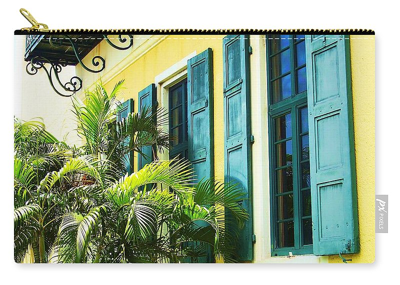 Architecture Carry-all Pouch featuring the photograph Green Shutters by Debbi Granruth