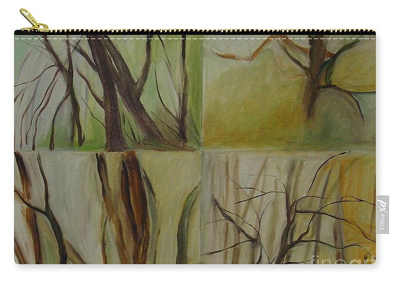 Spring Young Trees Saplings Trees Carry-all Pouch featuring the painting Green Sonnet by Leila Atkinson