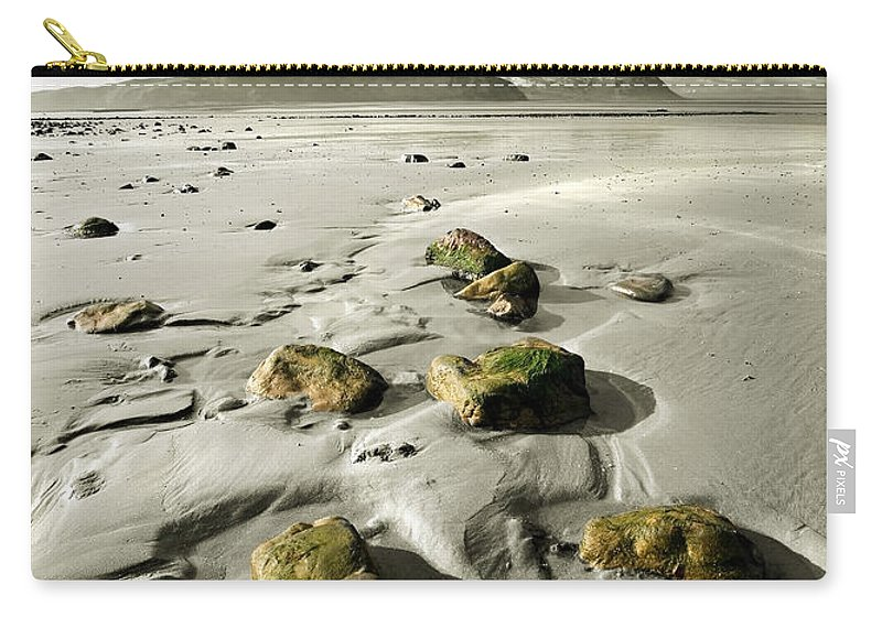 Beach Carry-all Pouch featuring the photograph Green Stones On A North Wales Beach by Mal Bray