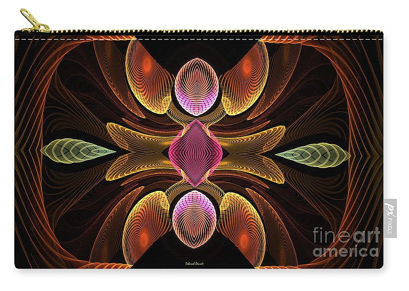 Digital Carry-all Pouch featuring the digital art Green Teardrops by Deborah Benoit