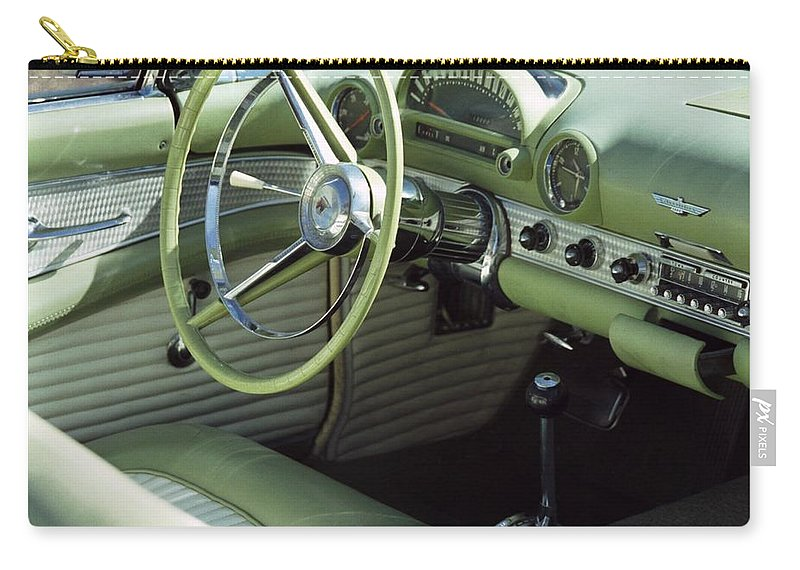 Photography Carry-all Pouch featuring the photograph Green Thunderbird Wheel And Front Seat by Heather Kirk