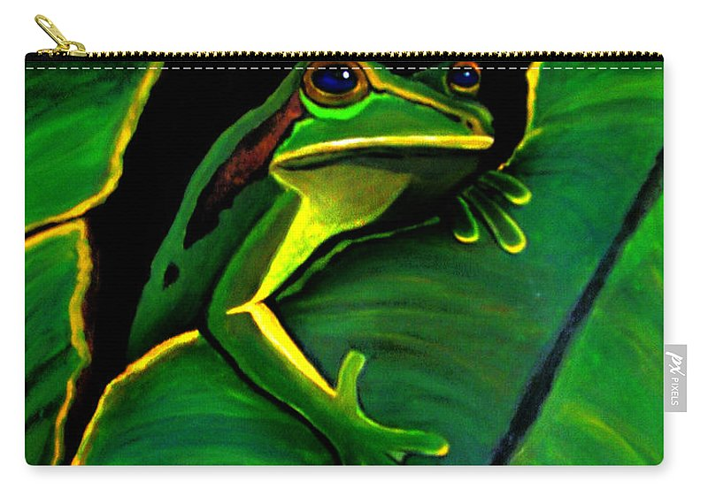 Frog Carry-all Pouch featuring the painting Green Tree Frog And Leaf by Nick Gustafson