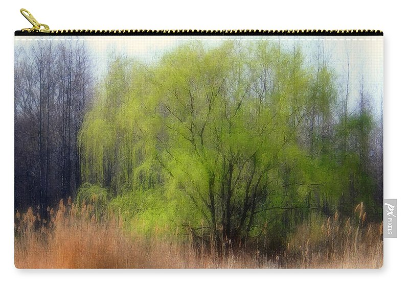 Scenic Art Carry-all Pouch featuring the photograph Green Tree by Linda Sannuti
