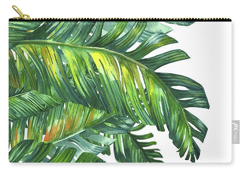 Summer Carry-all Pouch featuring the digital art Green Tropic by Mark Ashkenazi