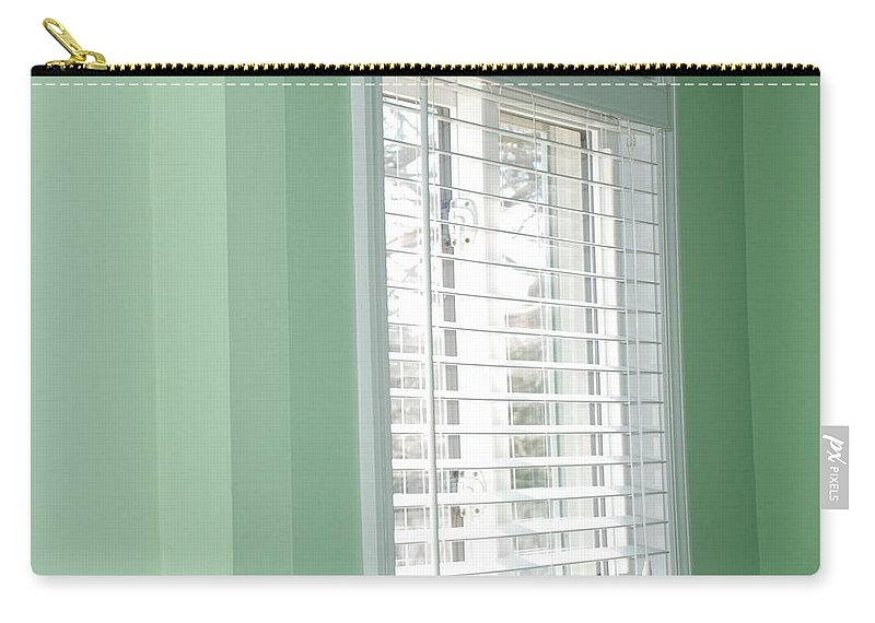 Architecture Carry-all Pouch featuring the photograph Green Wall White Window by Rob Hans