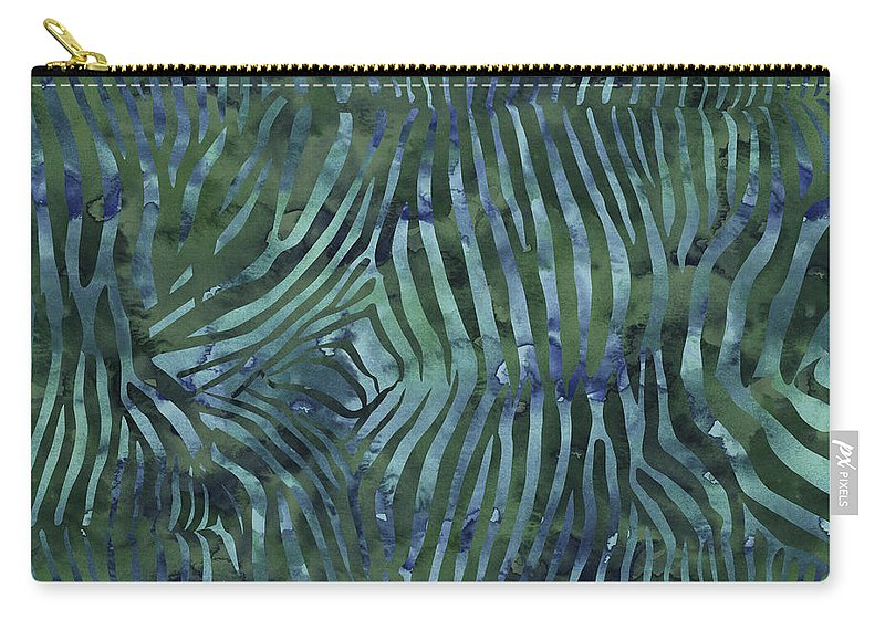 Painting Carry-all Pouch featuring the painting Green Zebra Print by Aloke Creative Store