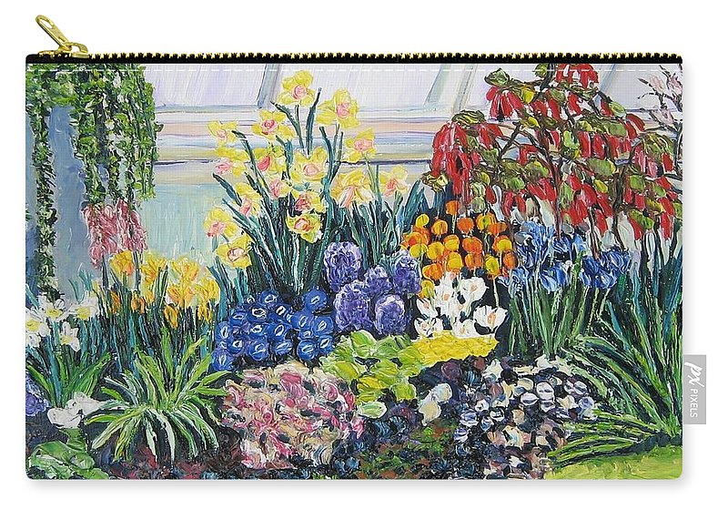 Flowers Carry-all Pouch featuring the painting Greenhouse Flowers With Blue And Red by Richard Nowak