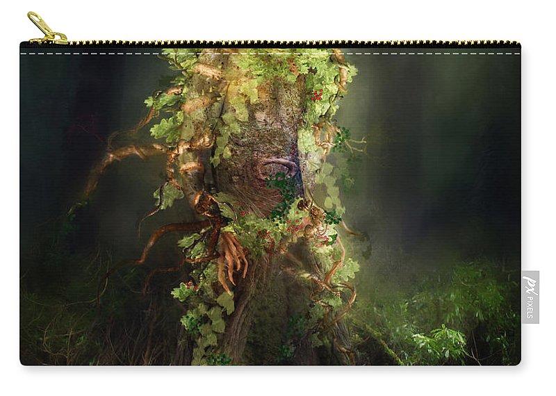 Man Carry-all Pouch featuring the digital art Greenman by Karen Koski