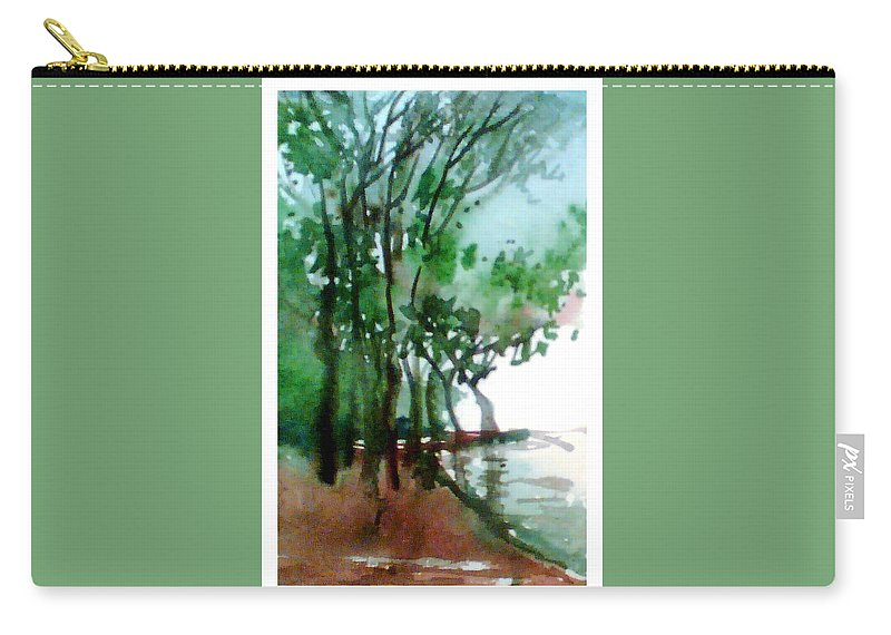 Water Color Carry-all Pouch featuring the painting Greens by Anil Nene
