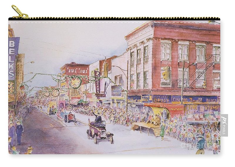 Print Greensboro History Carry-all Pouch featuring the painting Greensboro Christmas Parade 1960 by Maggie Clark