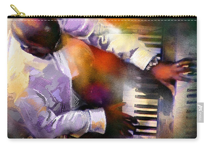 Musicians Carry-all Pouch featuring the painting Greg Phillinganes From Toto by Miki De Goodaboom