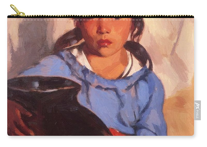 Gregorita Carry-all Pouch featuring the painting Gregorita With The Santa Clara Bowl 1917 by Henri Robert