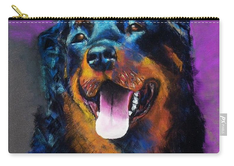 Rottweiler Carry-all Pouch featuring the painting Gretchen by Frances Marino