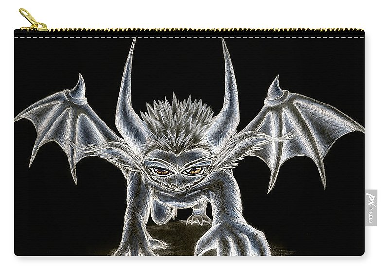 Demon Carry-all Pouch featuring the painting Grevil Pastel by Shawn Dall
