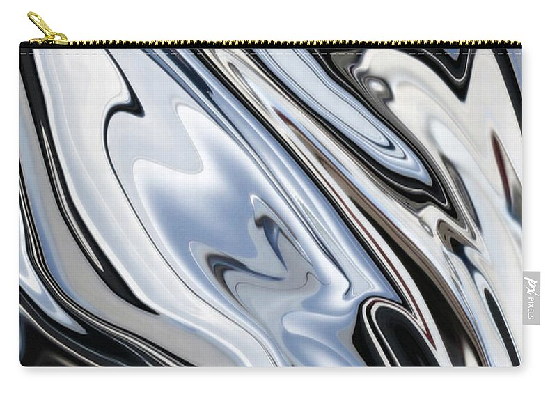 Outdoor Carry-all Pouch featuring the digital art Grey And Black Metal Marbling Effect Abstract by Taiche Acrylic Art