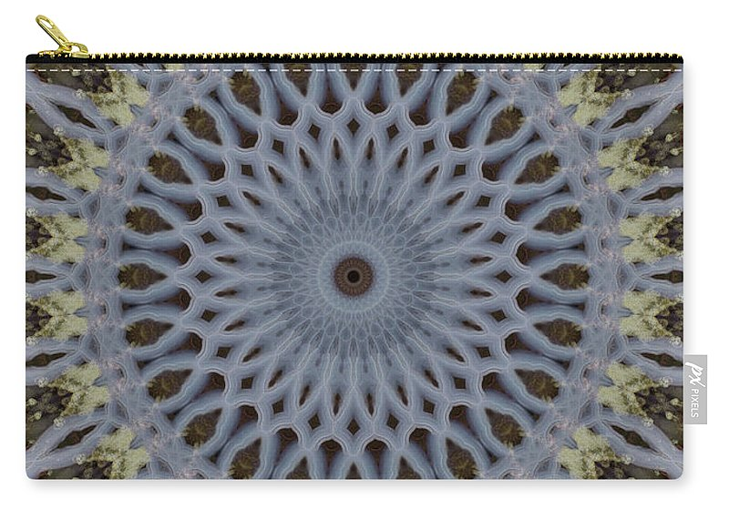 Mandala Carry-all Pouch featuring the photograph Grey And Yellow Mandala by Jaroslaw Blaminsky