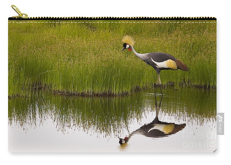 Balearica Regulorum Carry-all Pouch featuring the photograph Grey Crowned Crane - Signed by J L Woody Wooden