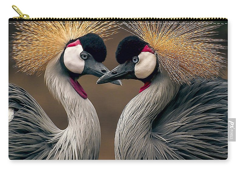 Crane Carry-all Pouch featuring the photograph Grey Crowned Cranes Of Africa by Daniel Hagerman