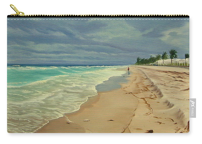 Beach Carry-all Pouch featuring the painting Grey Day On The Beach by Lea Novak