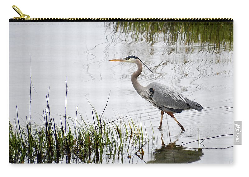 Avian Carry-all Pouch featuring the photograph Grey Heron #3 by Tim Bond