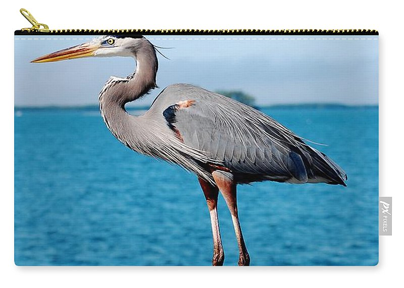 Grey Heron Carry-all Pouch featuring the photograph Grey Heron by Robert Meanor