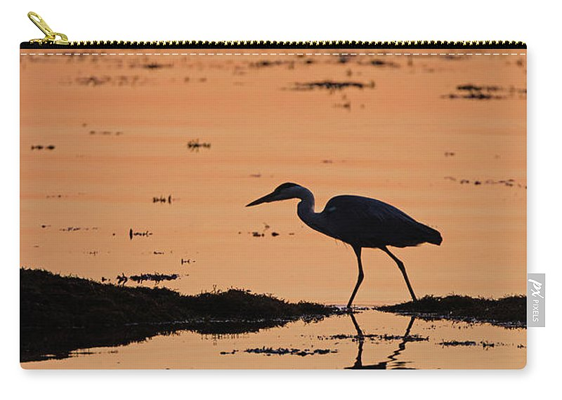 Grey Carry-all Pouch featuring the photograph Grey Heron Sunset by Peter Walkden