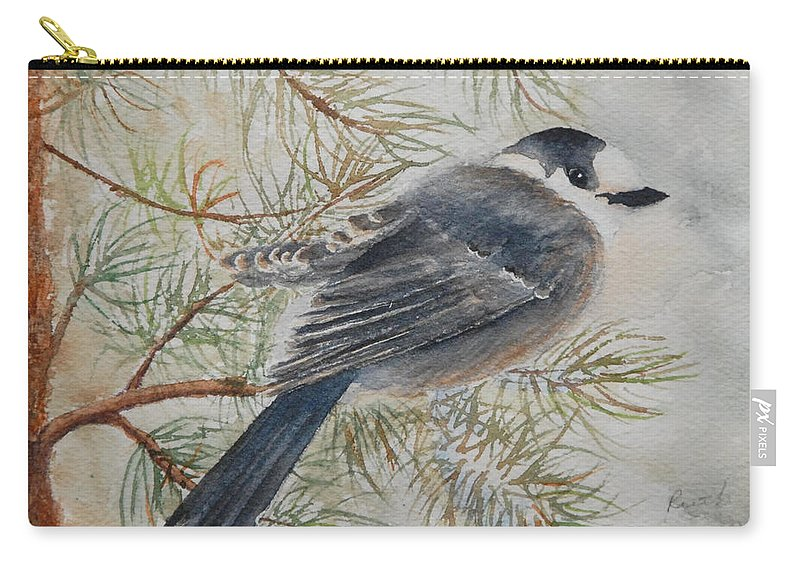 Bird Carry-all Pouch featuring the painting Grey Jay by Ruth Kamenev