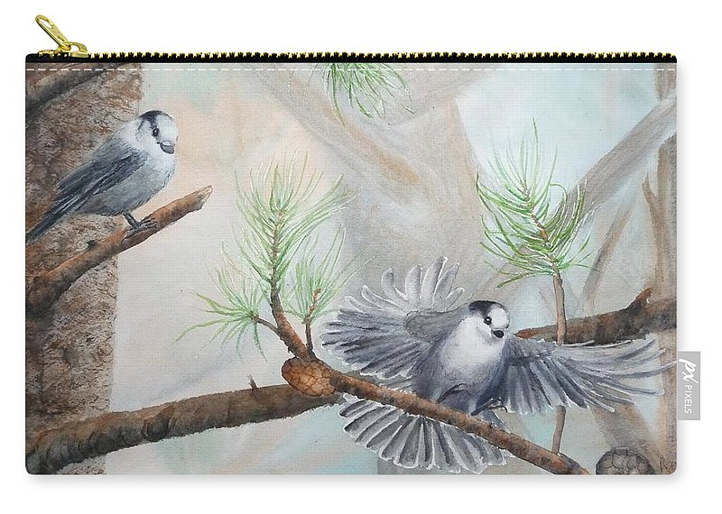 Grey Jay Carry-all Pouch featuring the painting Grey Jays In A Jack Pine by Ruth Kamenev