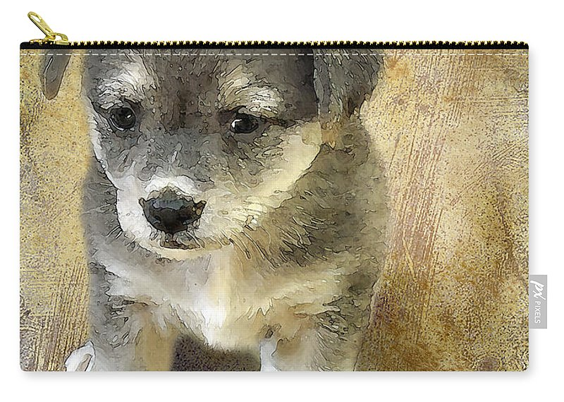 3d Carry-all Pouch featuring the photograph Grey Puppy by Svetlana Sewell