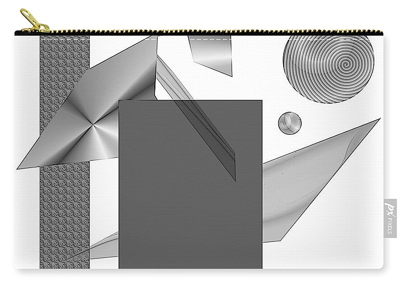 Abstract Carry-all Pouch featuring the digital art Greyscale by Iris Gelbart