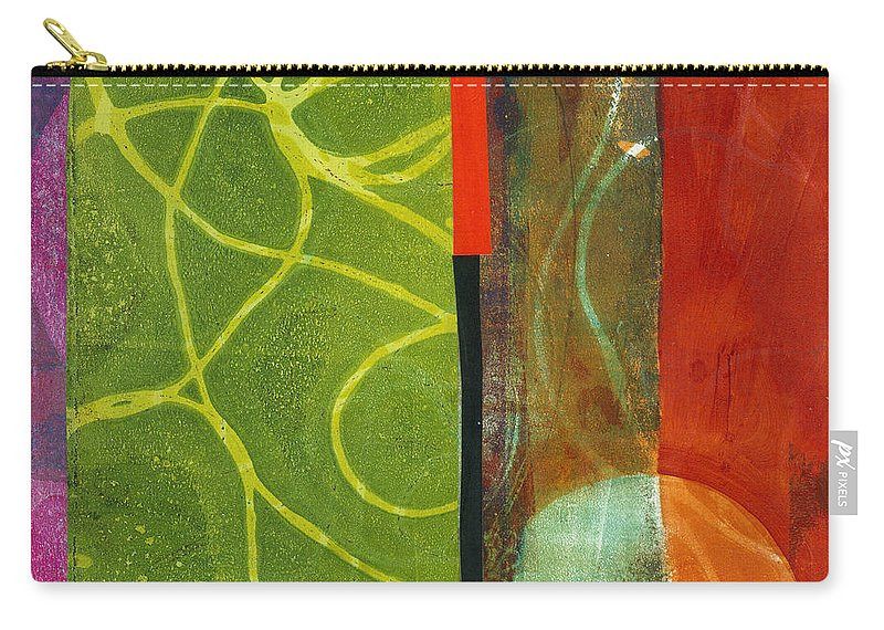 Acrylic And Collage Carry-all Pouch featuring the painting Grid Print 13 by Jane Davies