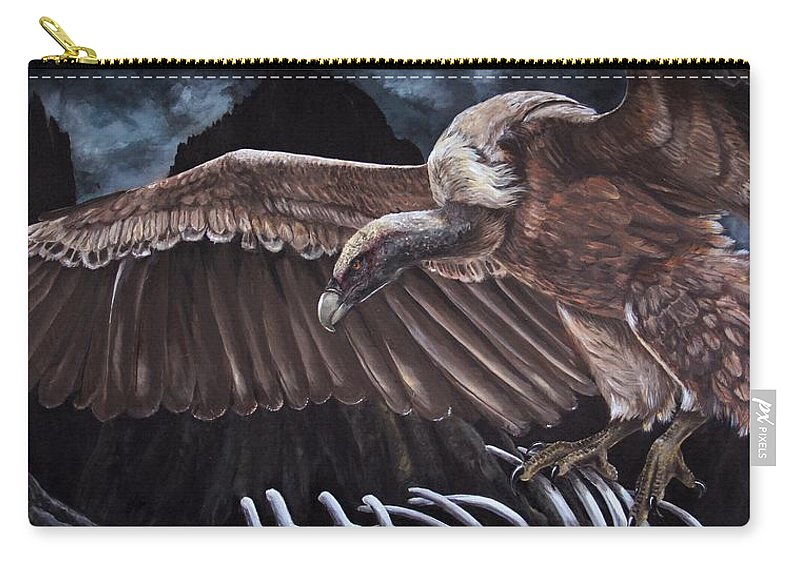 Vulture Carry-all Pouch featuring the painting Griffon Vulture by Alyssa Rosales
