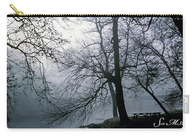 Grings Mill Recreation Area Carry-all Pouch featuring the photograph Grings Mill Fog 1043 by Scott McAllister