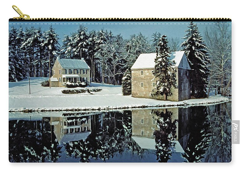 Grings Mill Recreation Area Carry-all Pouch featuring the photograph Grings Mill Snow 001 by Scott McAllister